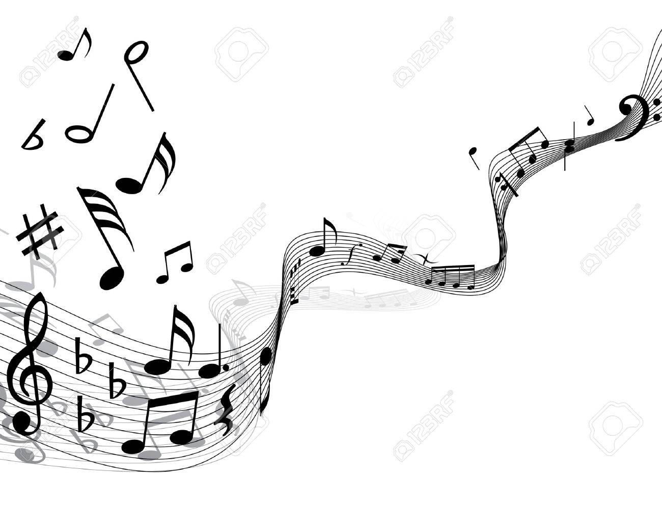 Musical notes staff with lines and shadows Stock Vector - 3931426