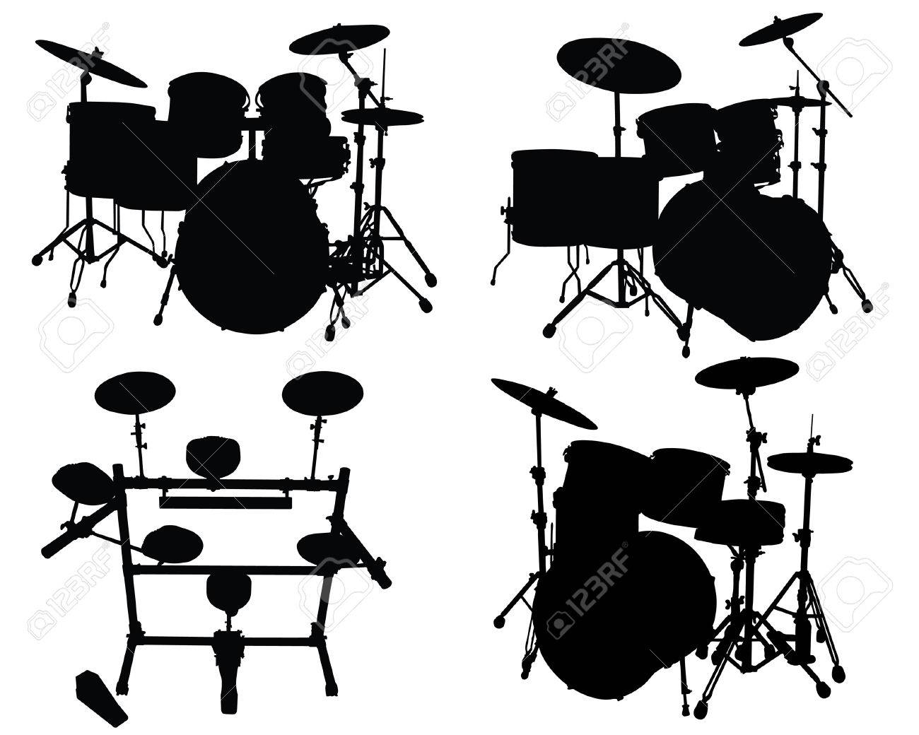 Set of vector silhouettes White Drum Set Silhouette