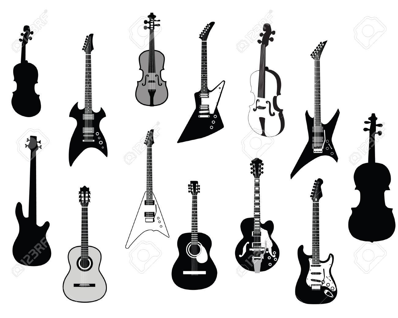 Set of detailed vector silhouettes different guitars Stock Vector - 4086628