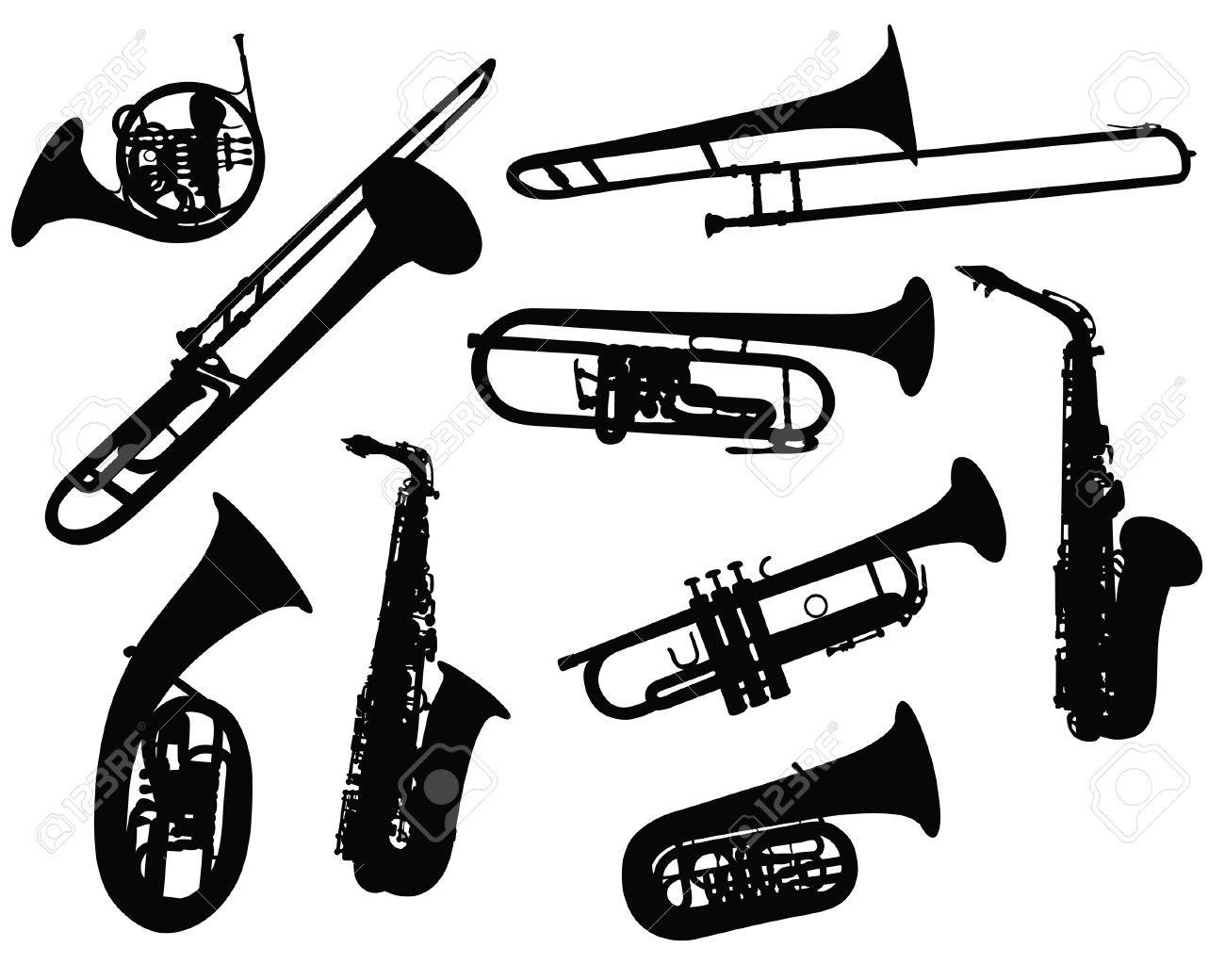 Set of different vector silhouettes wind instruments - 4086630