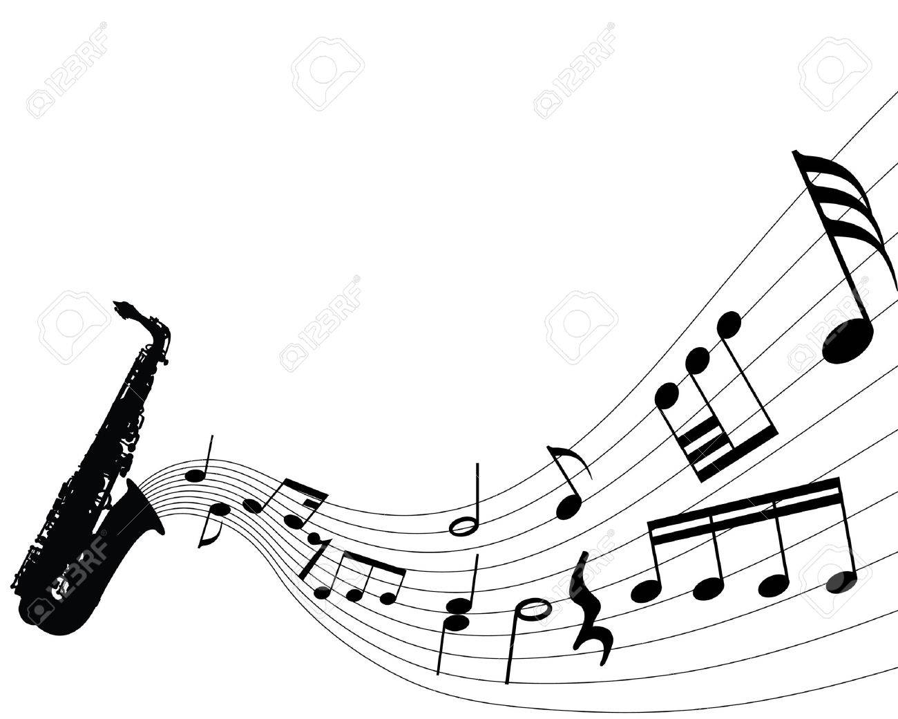 Abstract music background with different notes and wind instrument Stock Vector - 4142773