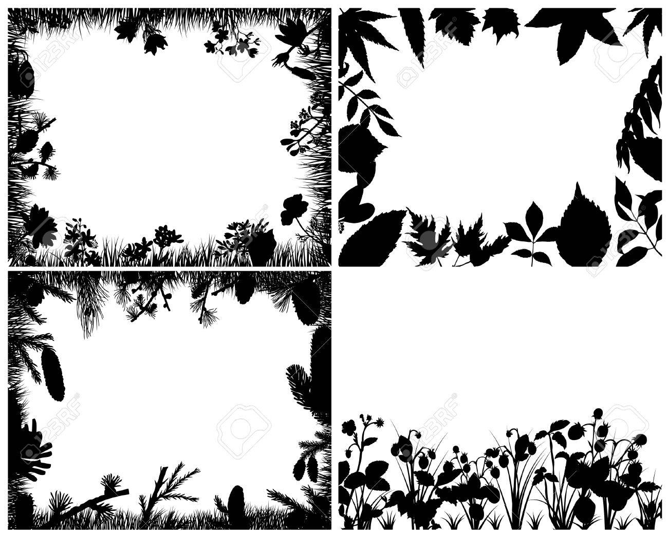 Set of four vector grass silhouettes backgrounds Stock Vector - 4206317