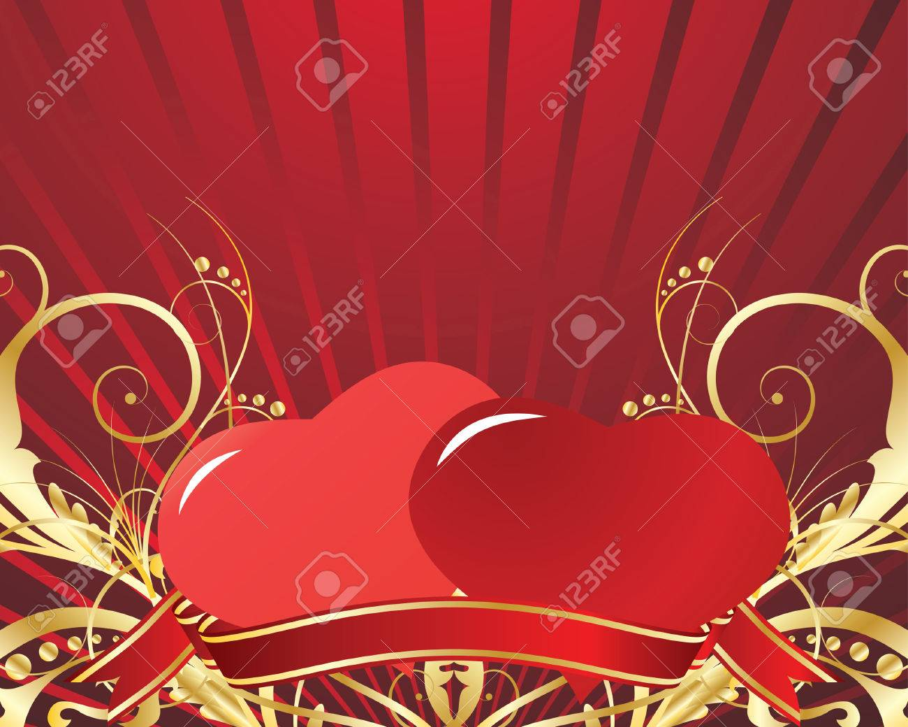 St. Valentine Day floral greeting card with hearts Stock Vector - 4272924
