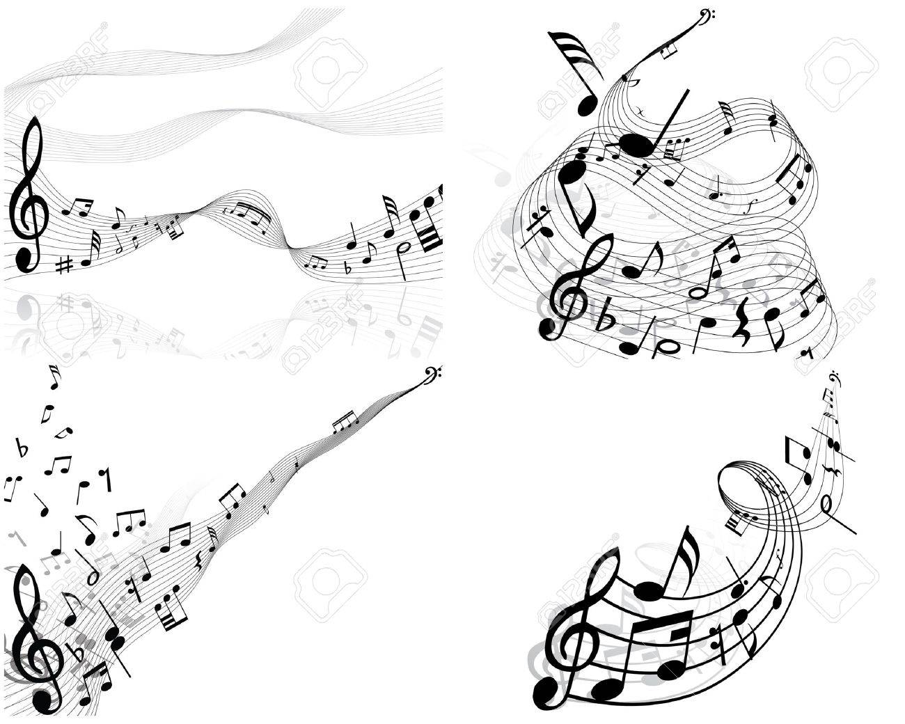 Set of four vector musical notes staff Stock Vector - 4272920