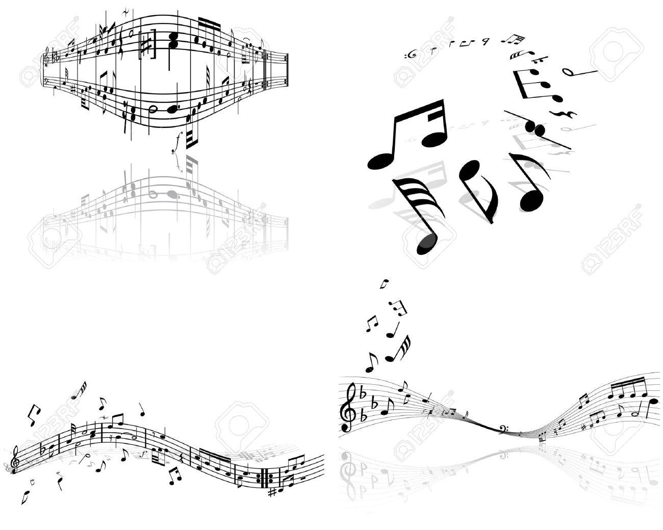Set of four vector musical notes staff Stock Vector - 4272935