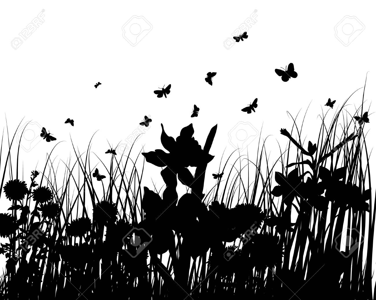 Vector grass silhouettes backgrounds with butterflies Stock Vector - 4272917