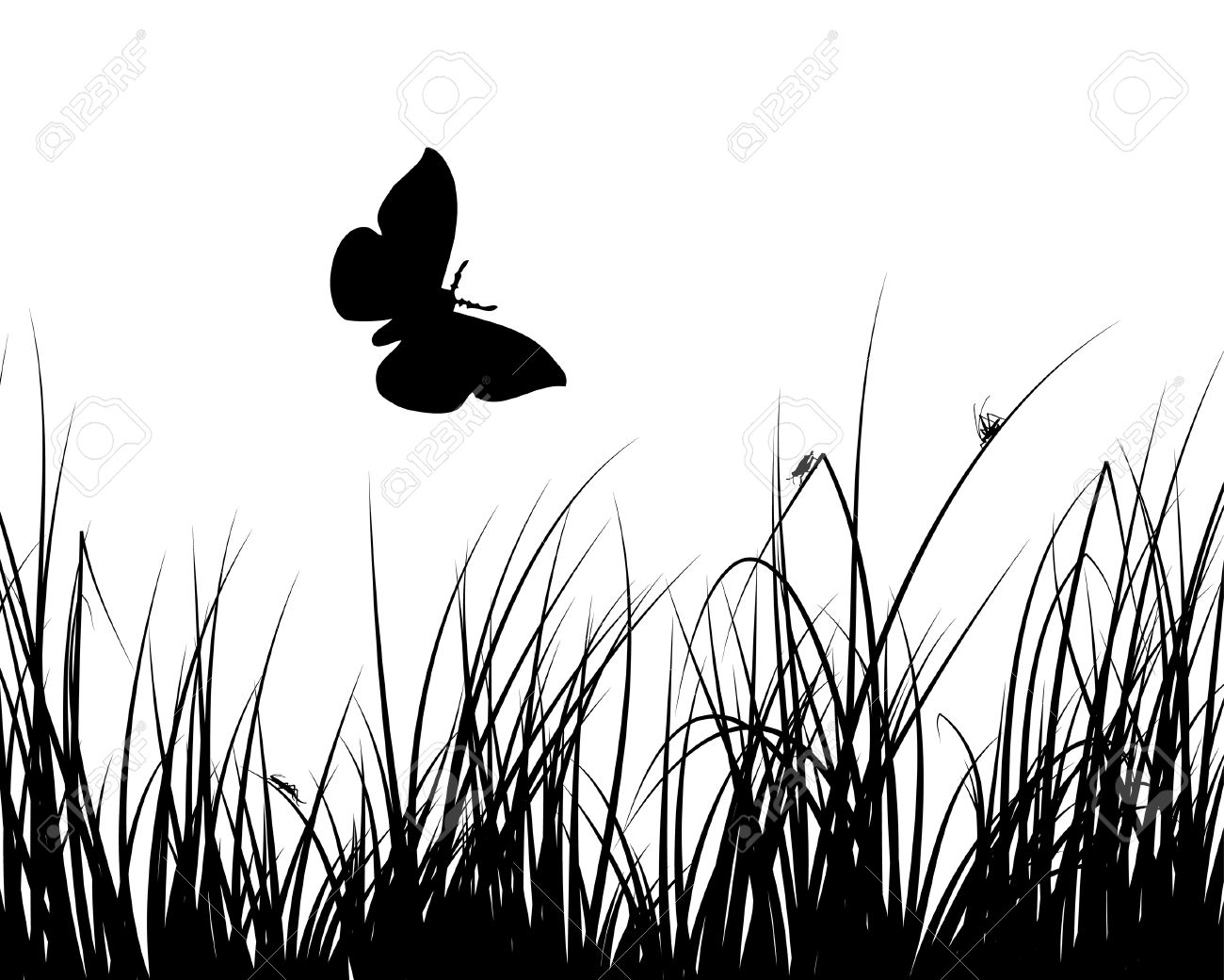 Vector grass silhouettes backgrounds with insects Stock Vector - 4343319