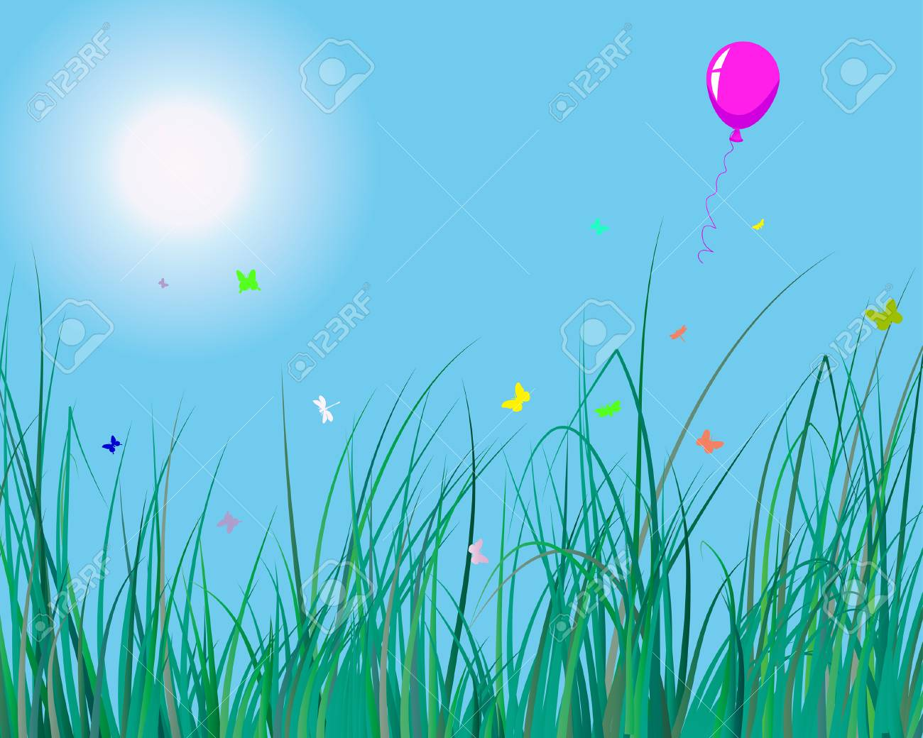 Vector illustration of grass background with balloon for design usage Stock Vector - 4455174