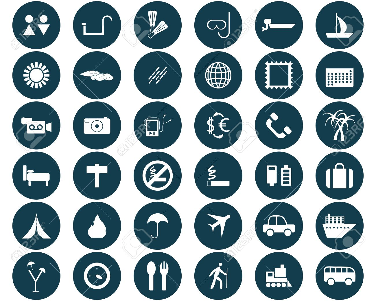 Biggest collection of different travel icons for using in web design Stock Vector - 4455155