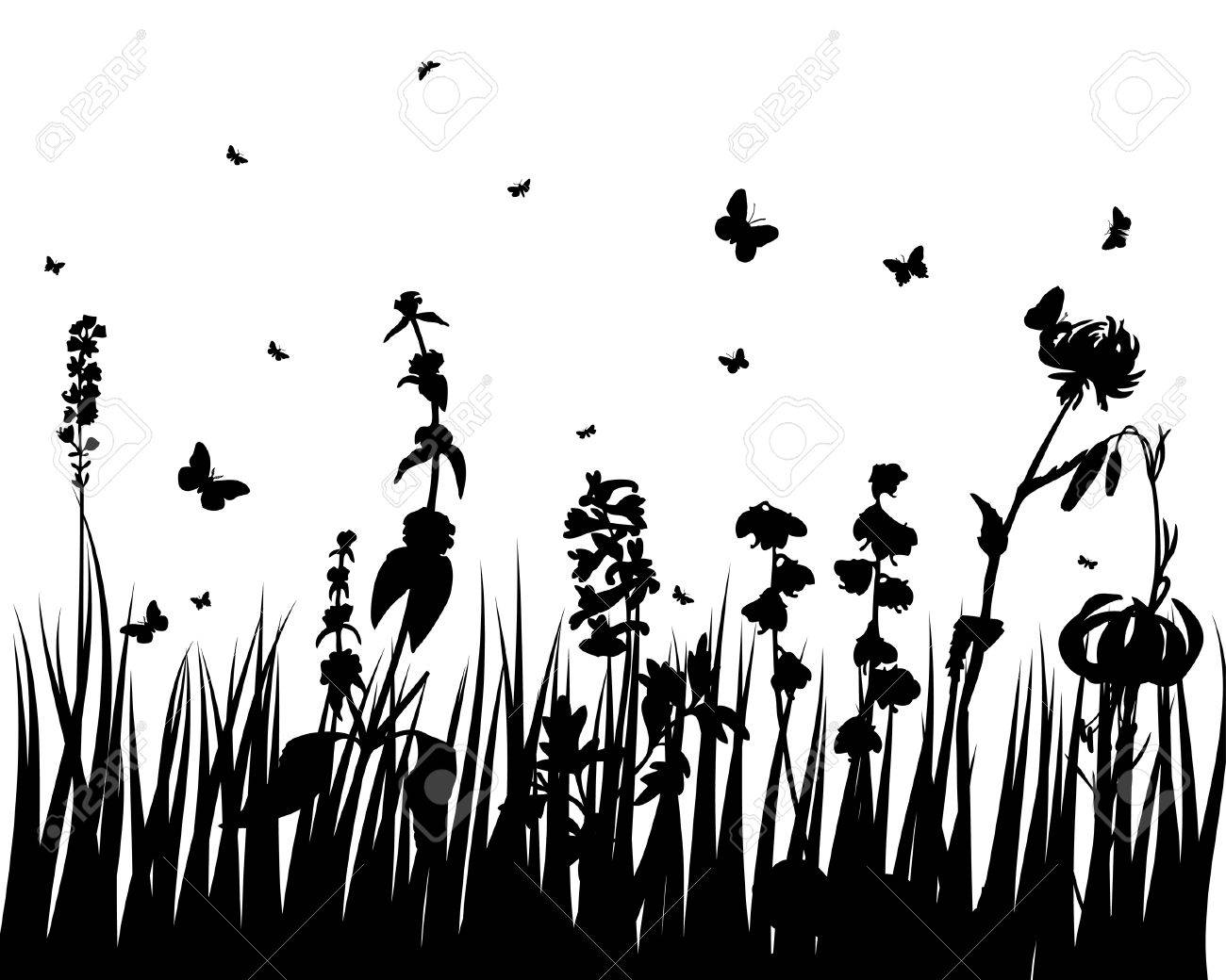Vector grass silhouettes backgrounds with insects Stock Vector - 4455233