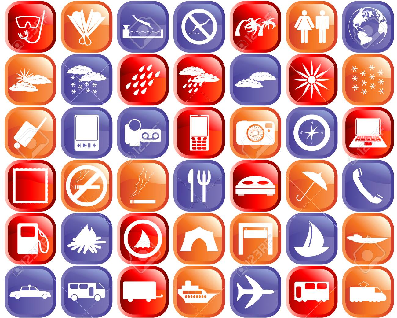Biggest collection of different travel icons for using in web design Stock Vector - 4501797