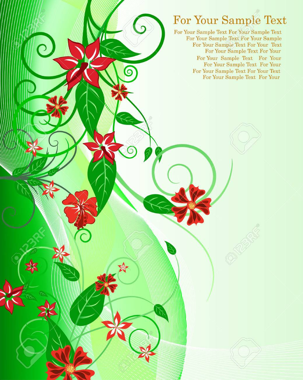 Green floral design vector graphic free vector graphics all free - Green Floral Vector Background For Design Use Stock Vector 4558972