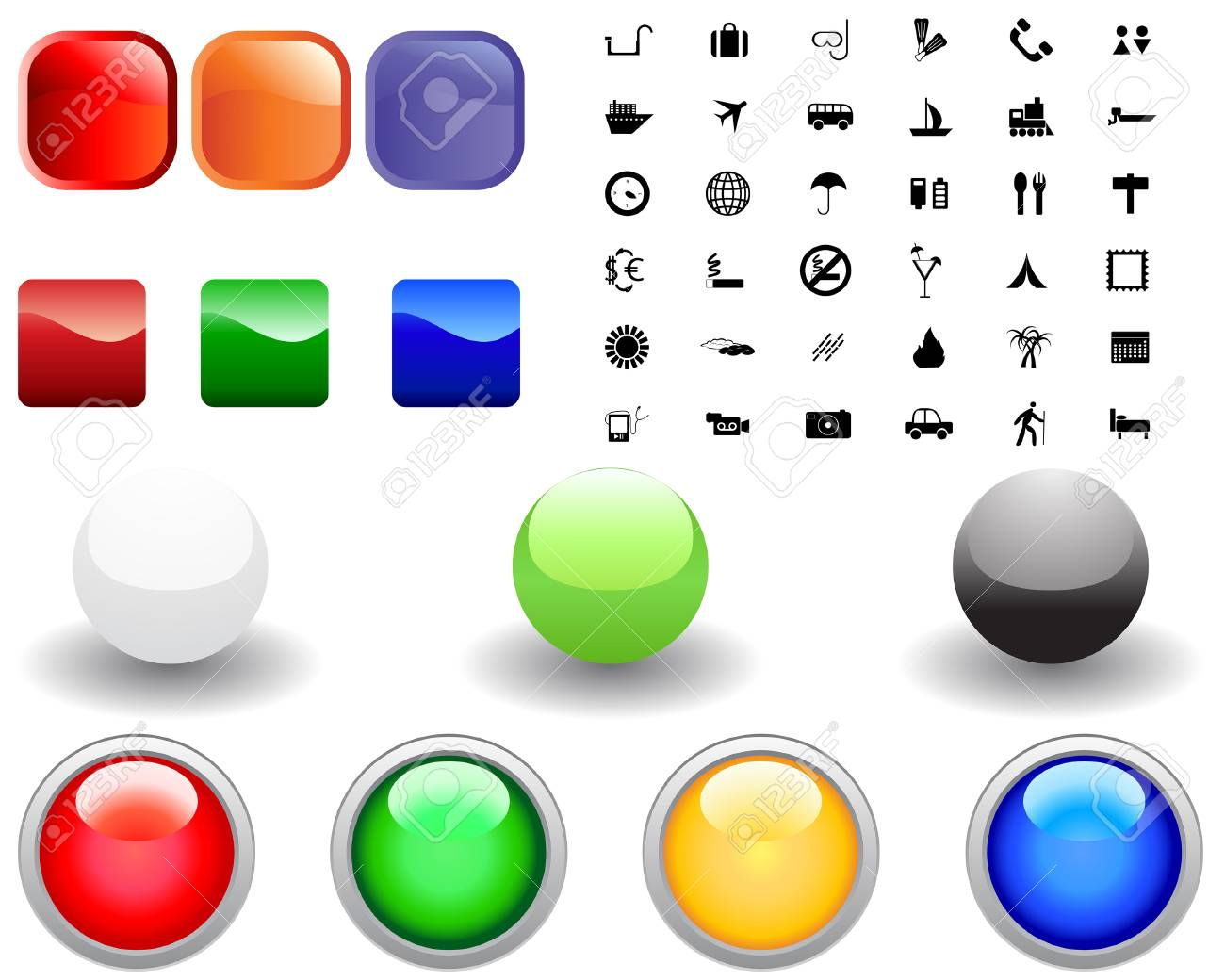 Collection of different icons for using in web design Stock Vector - 4679533