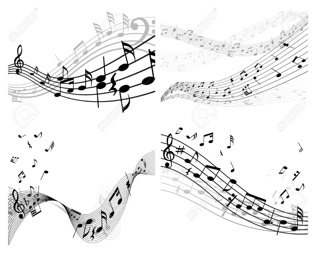 Set of vector musical notes background for design use Stock Vector - 4949681