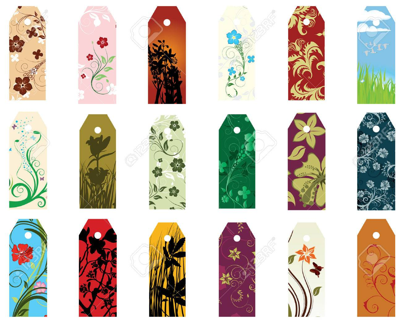 Set Of Different Vector Floral Bookmarks For Design Use Royalty ...