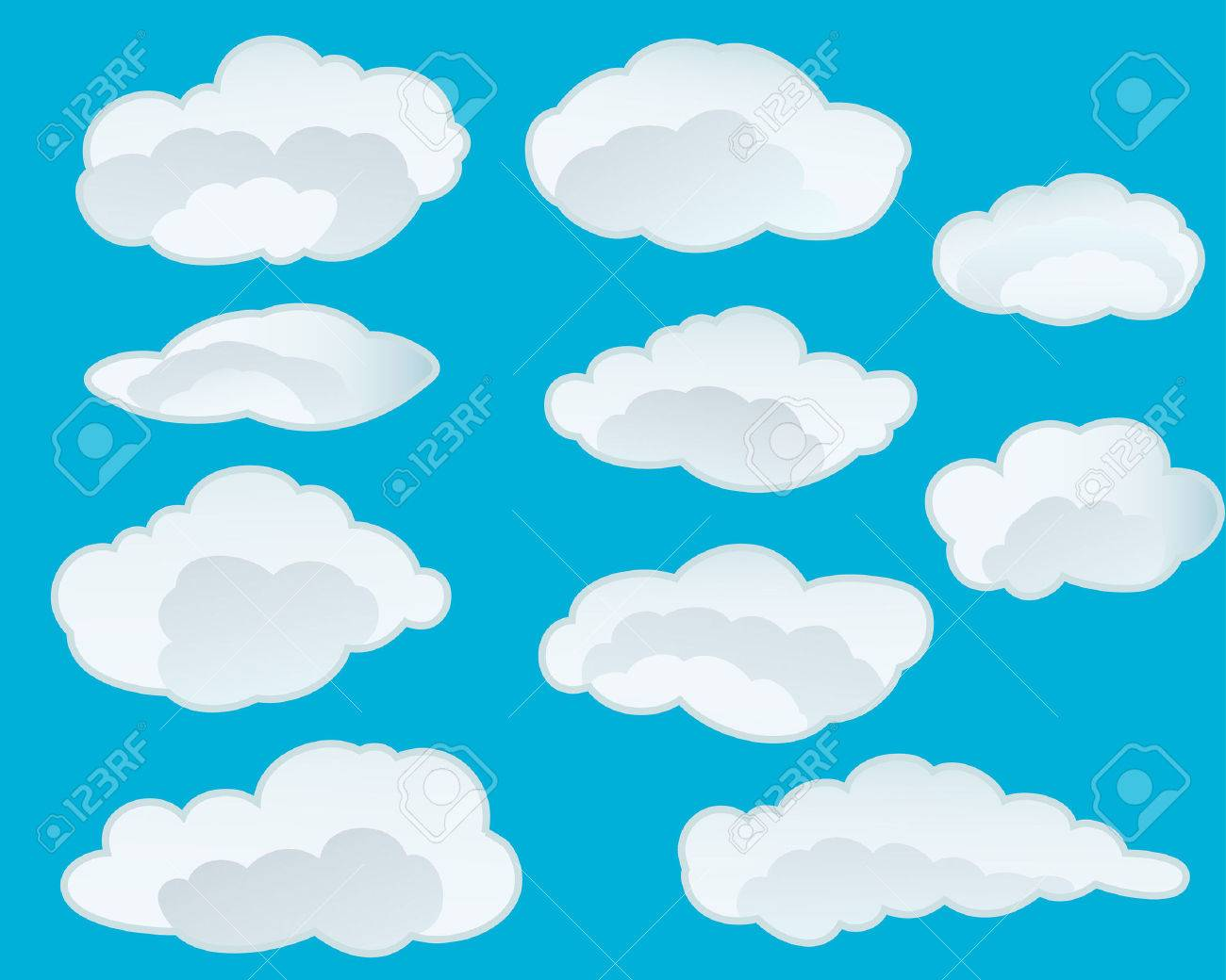 Set of vector clouds background for design use Stock Vector - 5021478