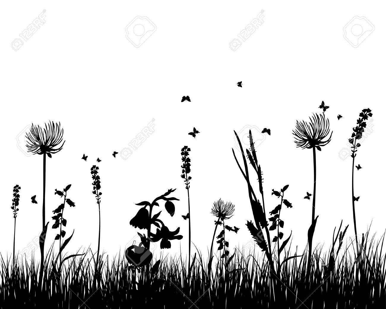 Vector grass silhouettes background for design use Stock Vector - 5124172