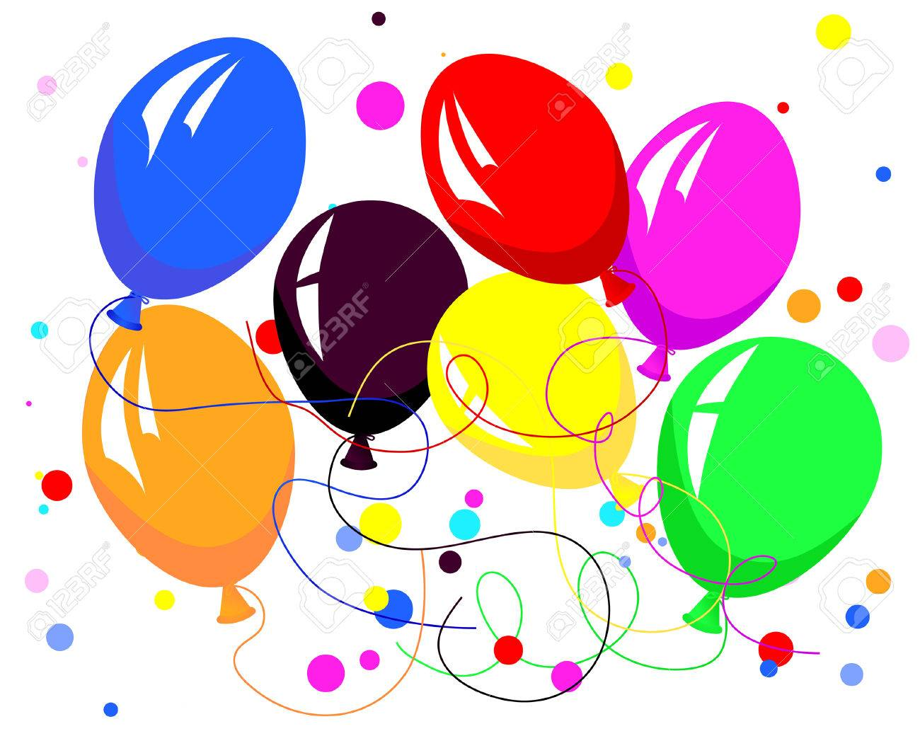 Beautiful colour balloon in the air. Vector illustration. Stock Vector - 5140507