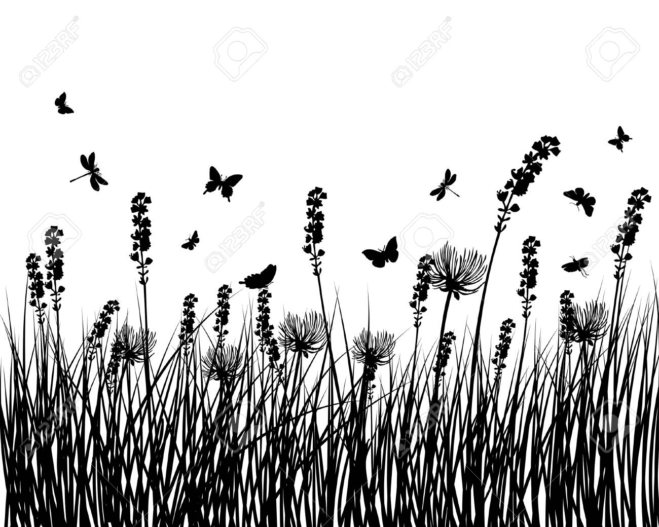 Vector grass silhouettes background for design use Stock Vector - 5233275