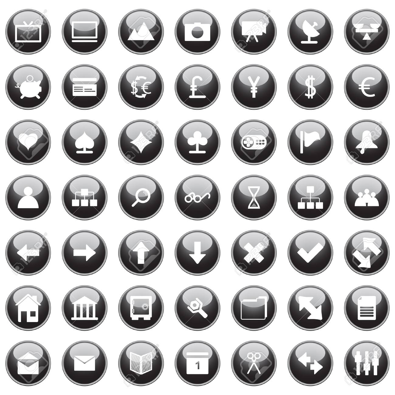 Collection of different icons for using in web design. Stock Vector - 5270639