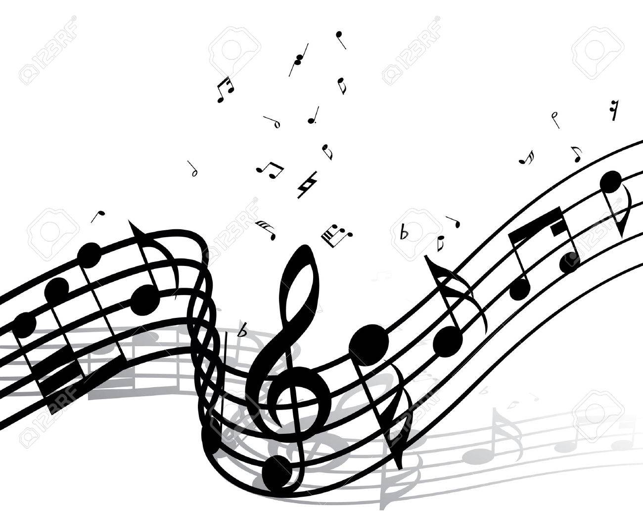 Musical notes staff background on white vector by tassel78 image - Clef Vector Musical Notes Staff Background For Design Use Illustration
