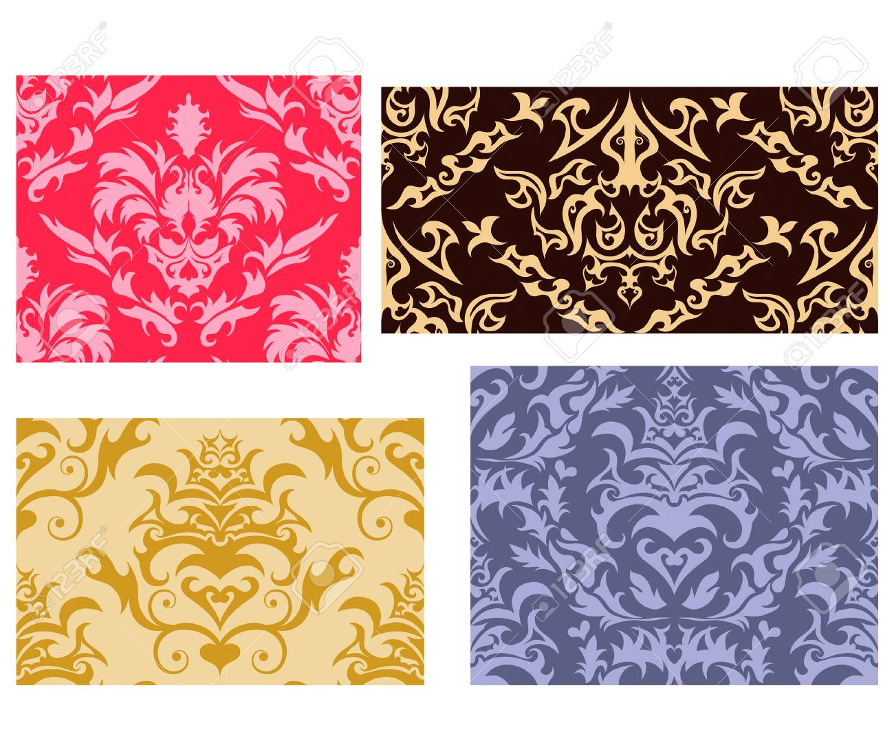 Damask seamless vector backgrounds set.  For easy making seamless pattern just drag all group into swatches bar, and use it for filling any contours. Stock Vector - 5302912