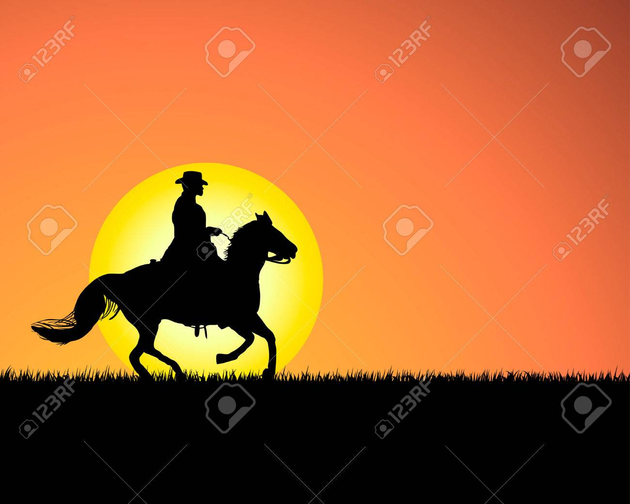 Western Horse Silhouettes Horse Silhouette on Sunset