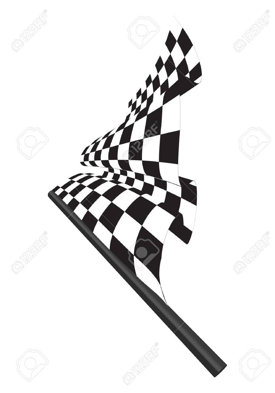 Black and white checked racing flag. Vector illustration. Stock Vector - 5341787