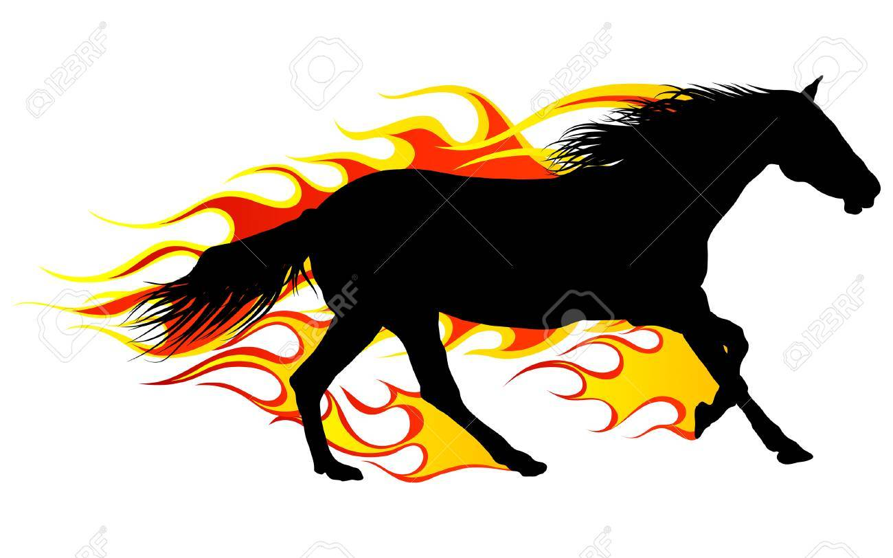 Horse silhouette with flame tongues. Vector illustration. Stock Vector - 5355489