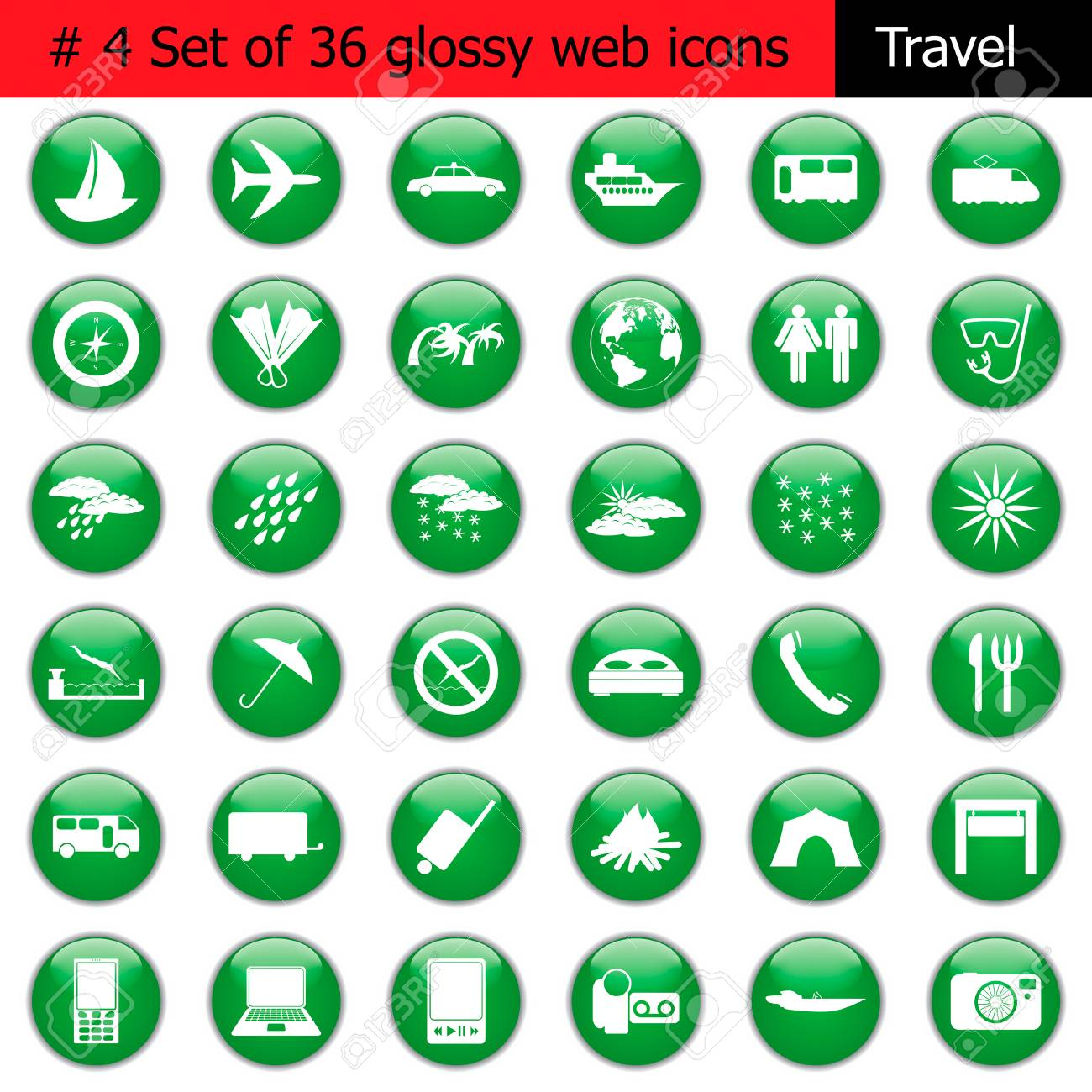 Collection of different icons for using in web design. Set #4. Travel. Stock Vector - 5426499