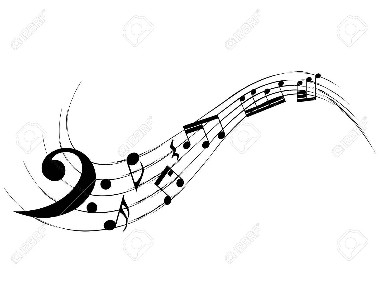 vector musical notes staff background for design use royalty free rh 123rf com Music Notes Symbols Music Notes