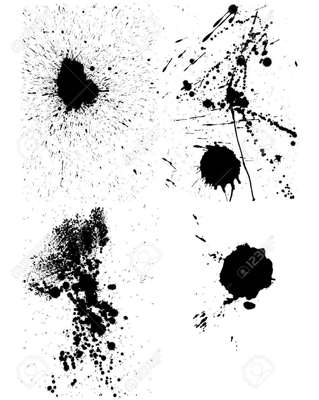 Set of vector ink blots  for grunge design Stock Vector - 5437045