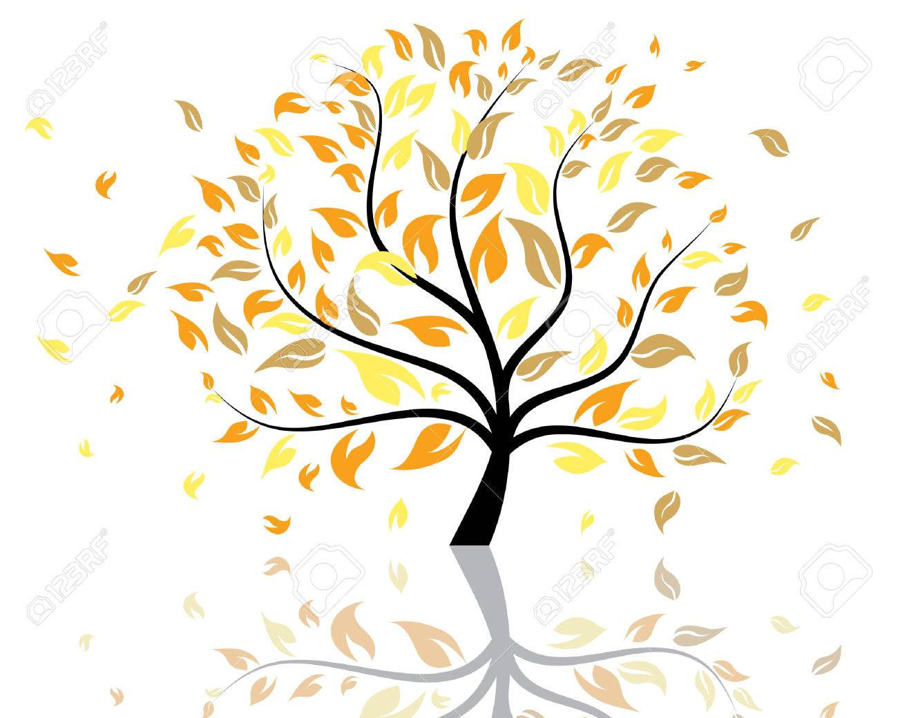 Vector illustration of autumn tree with falling leaves Stock Vector - 5603180