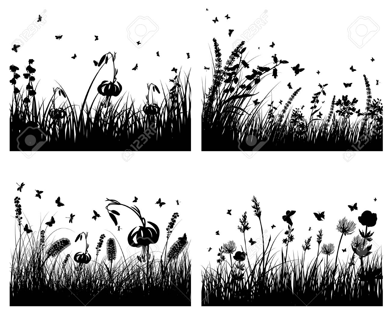 Vector grass silhouettes background with reflection in water. All objects are separated. Stock Vector - 5603194