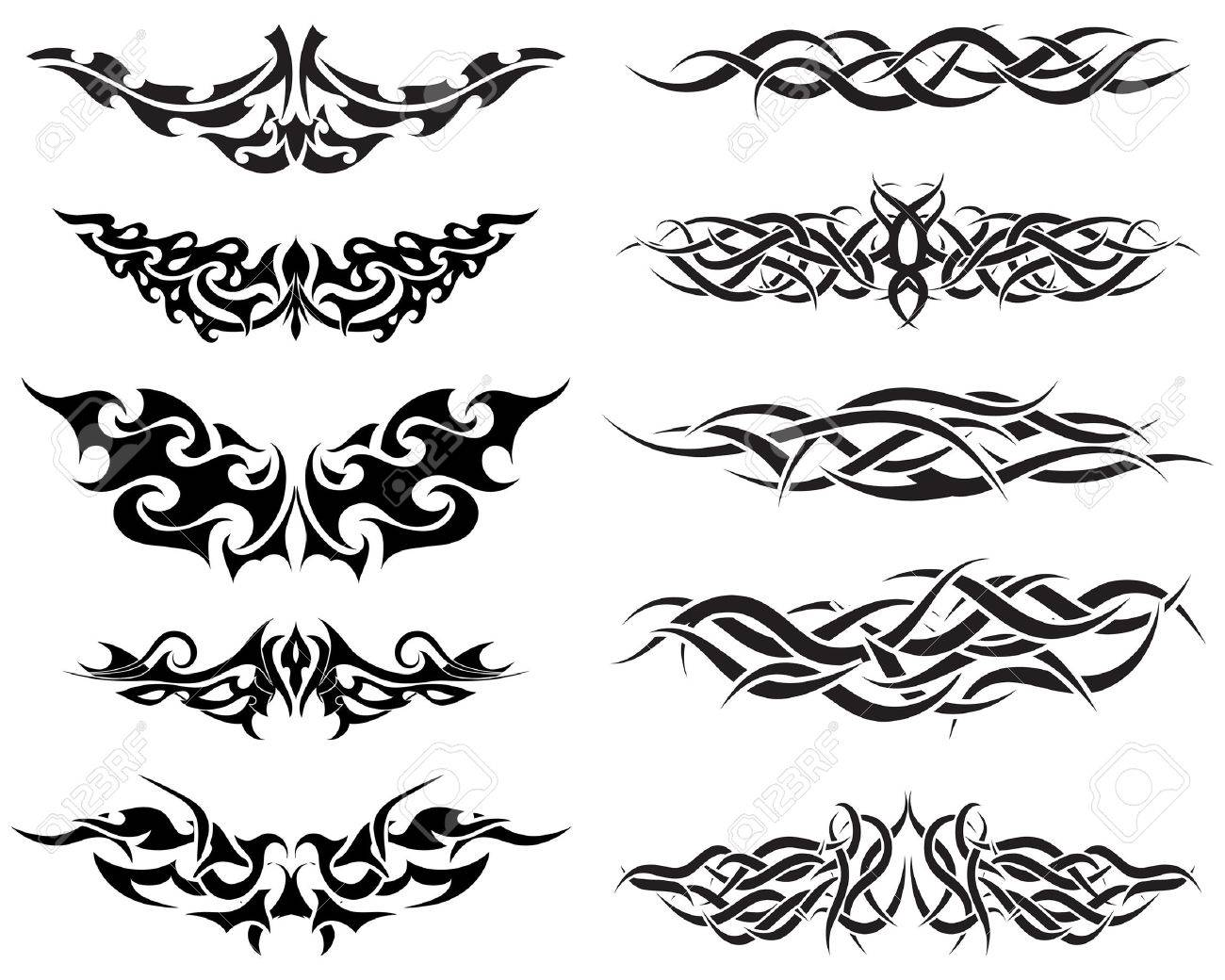Tribal-Tattoos 5657485-Patterns-of-tribal-tattoo-for-design-use-Stock-Vector-tattoos