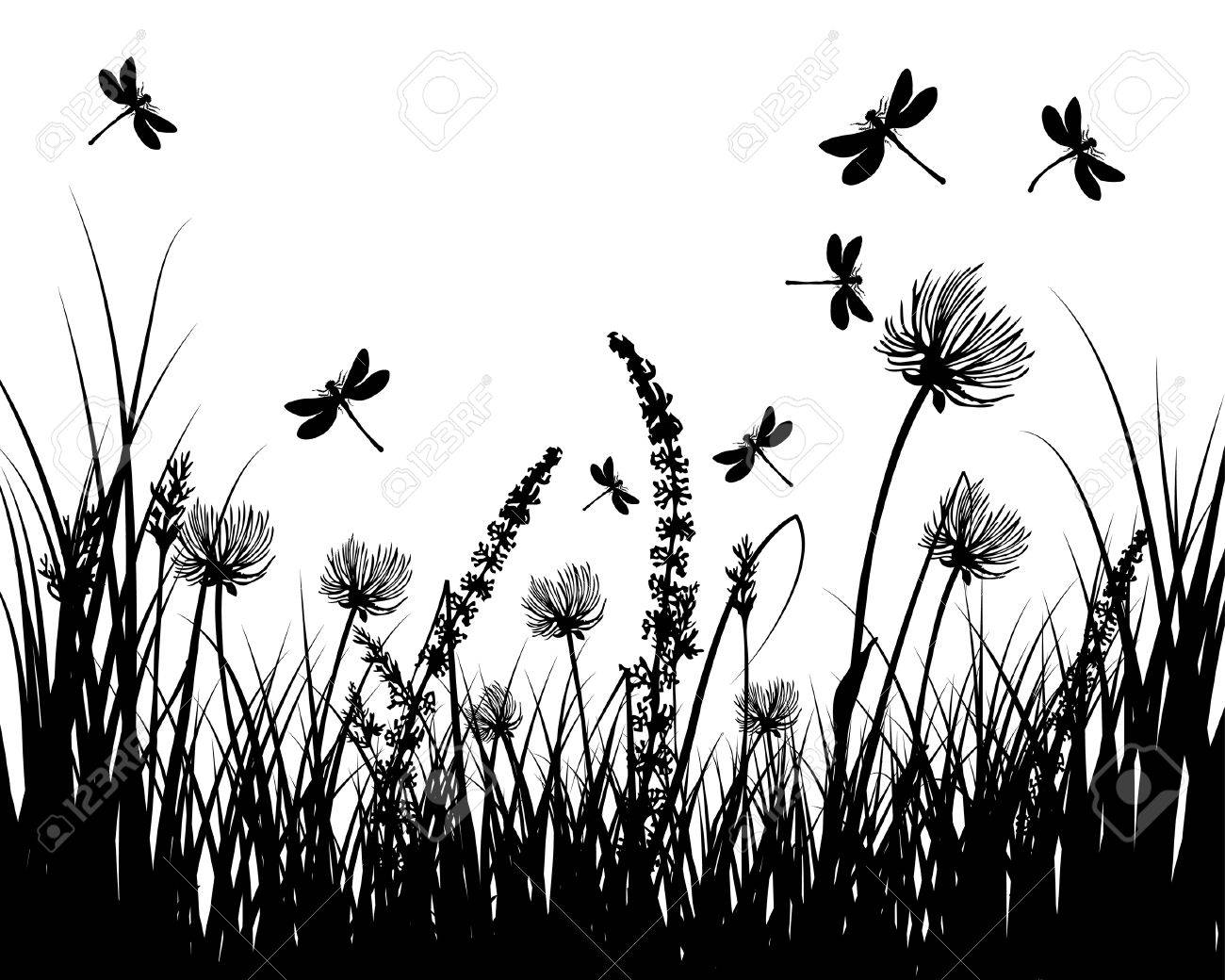 Vector grass silhouettes background. All objects are separated. Stock Vector - 5716838