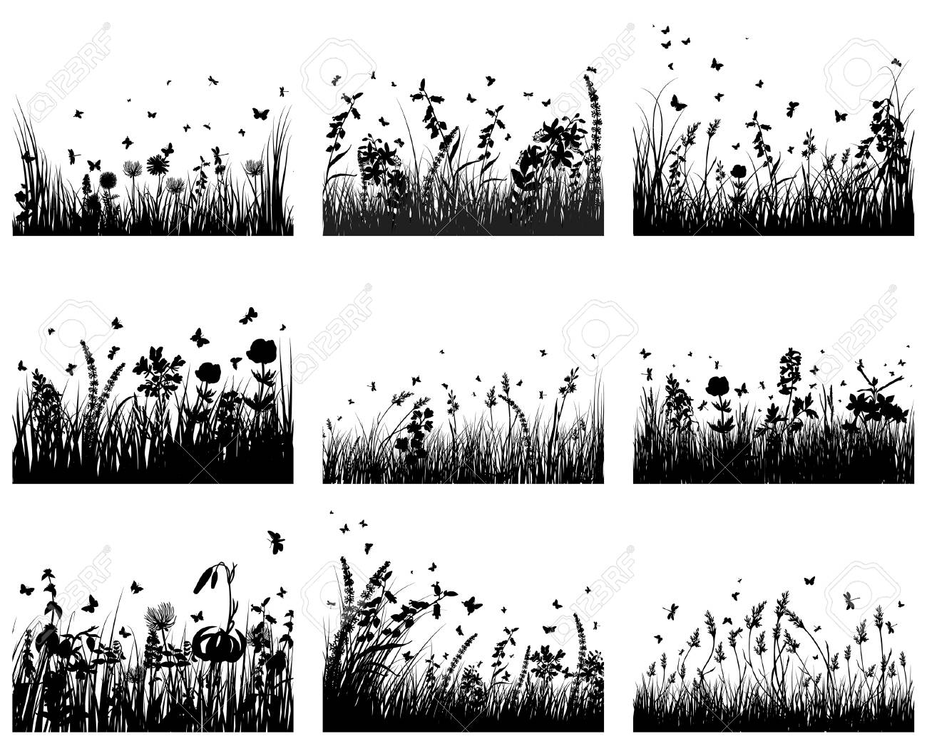 Vector grass silhouettes backgrounds set. All objects are separated. Stock Vector - 5837835