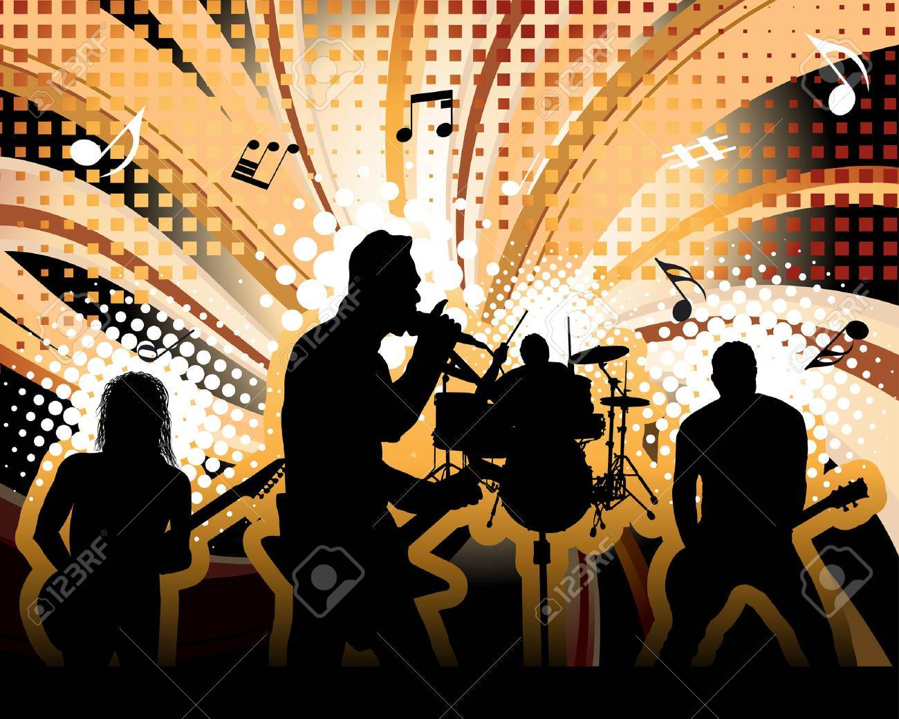Rock group singers theme. Vector illustration for design use. Stock Vector - 5842798