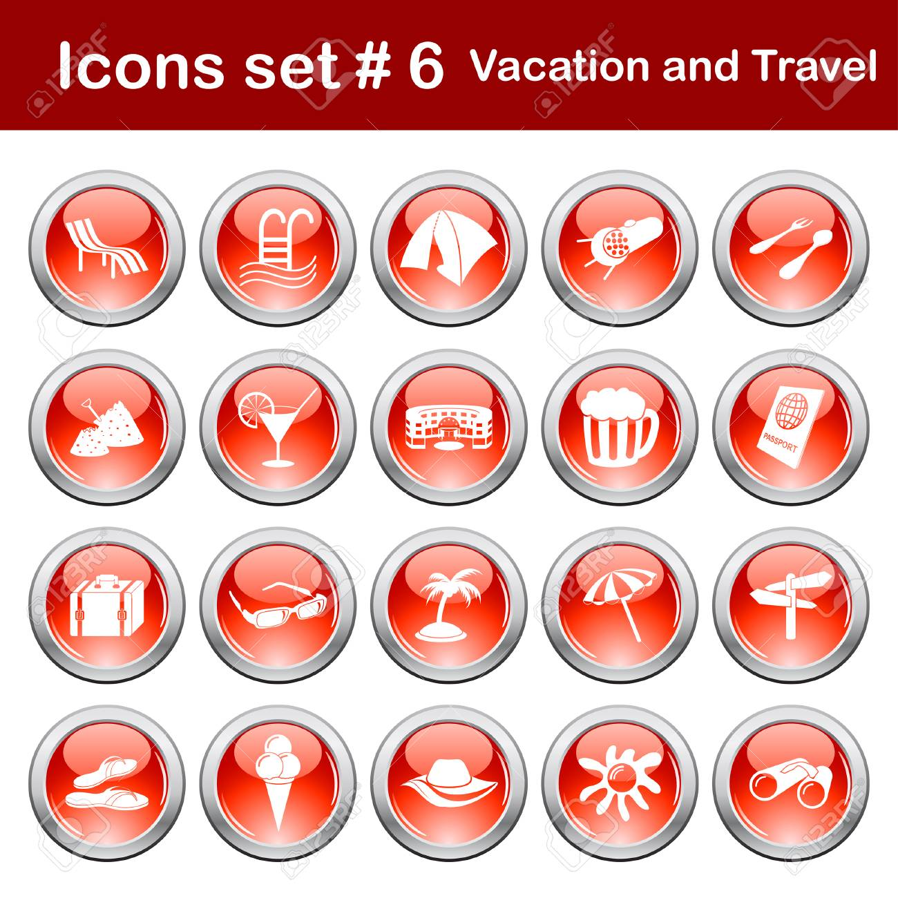 Travel set of different vector web icons Stock Vector - 5910773
