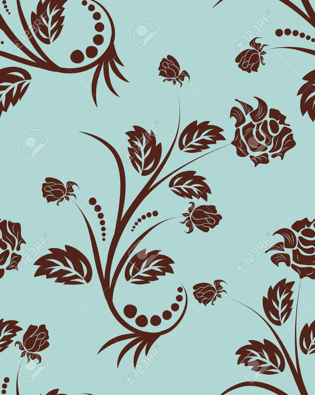 Seamless vector floral background. For easy making seamless pattern just drag all group into swatches bar, and use it for filling any contours. Stock Vector - 6056725