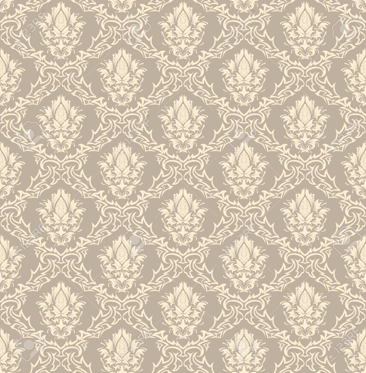 Damask seamless vector background.  For easy making seamless pattern just drag all group into swatches bar, and use it for filling any contours. Stock Vector - 6079203