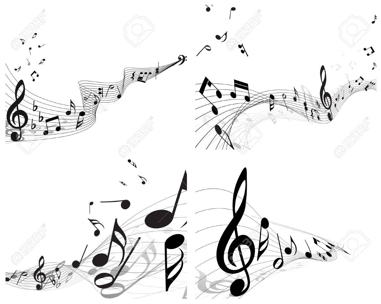 Vector musical notes staff backgrounds set for design use Stock Vector - 6333945