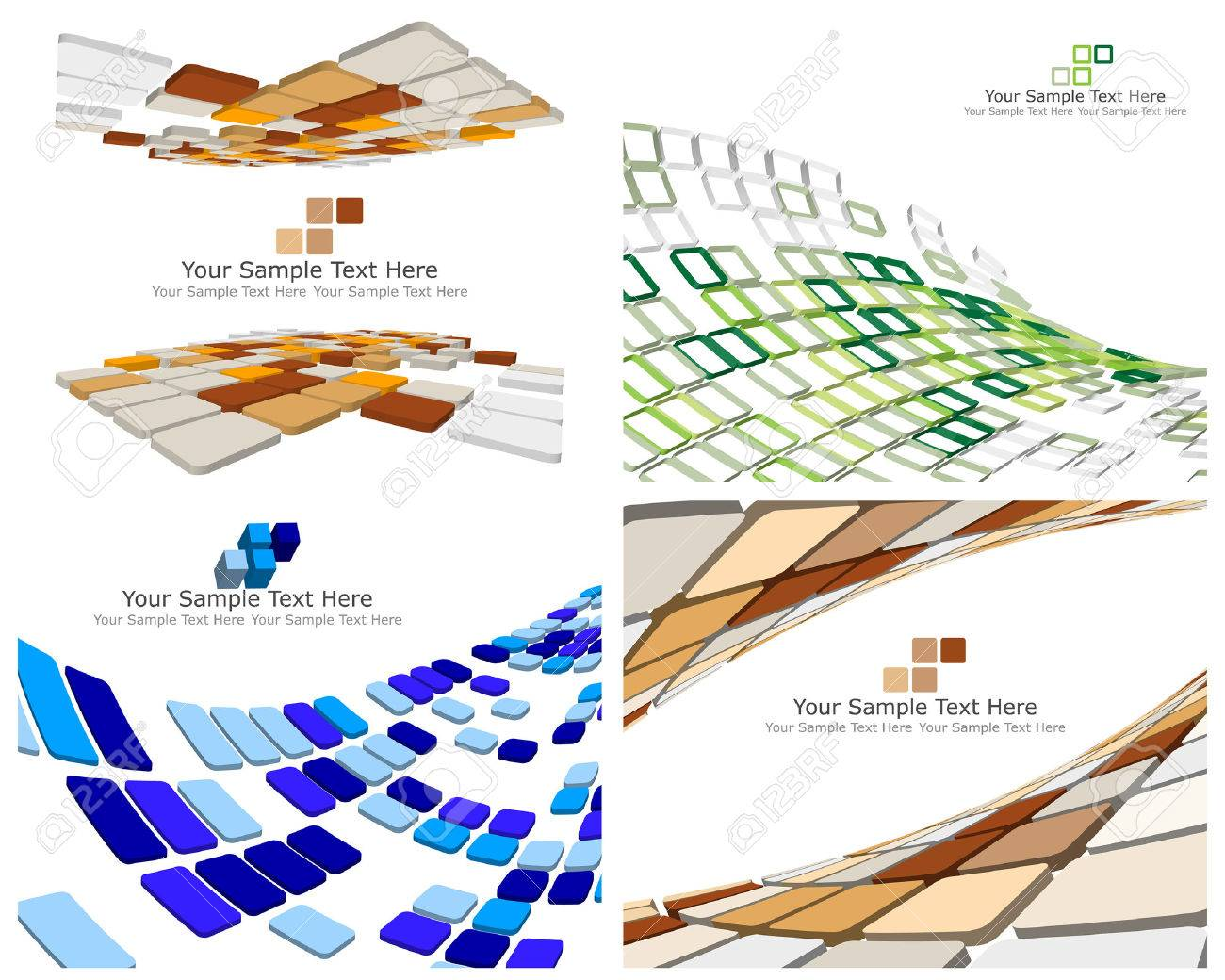 Abstract 3d checked  business backgrounds set for use in web design Stock Vector - 6334043
