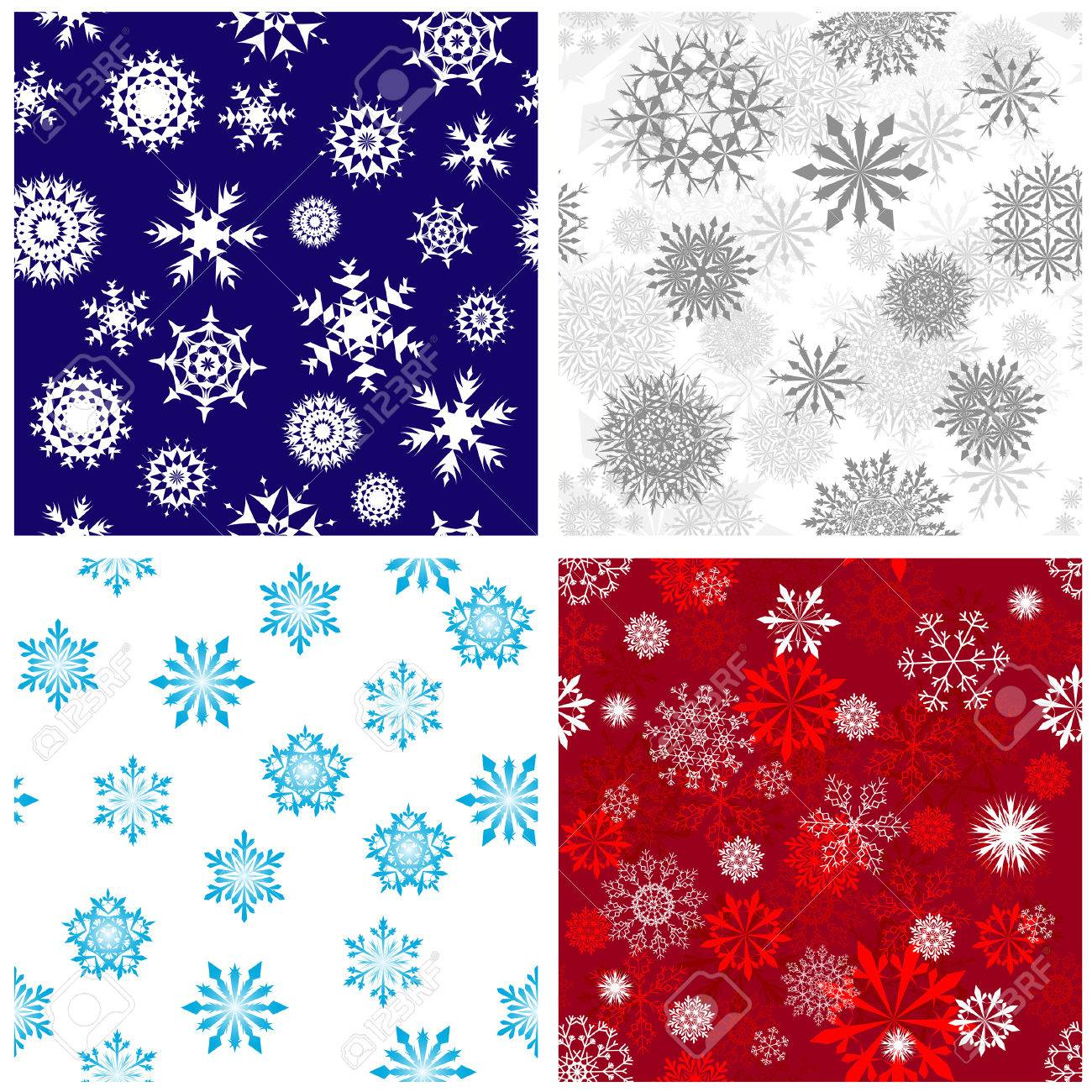 Seamless snowflakes backgrounds set  for winter and christmas theme Stock Vector - 6395825