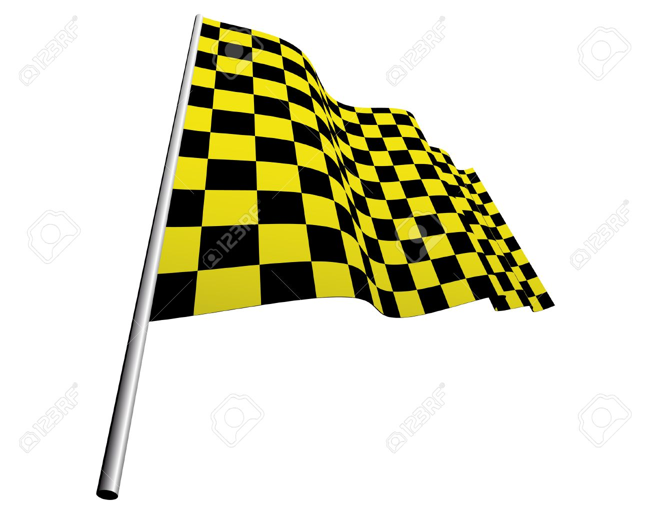 Yellow and black checked racing flag. Stock Vector - 6460450