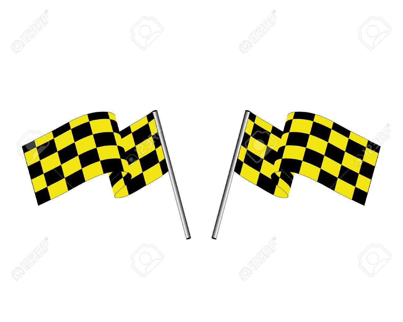 Yellow and black checked racing flag. Stock Vector - 6460451
