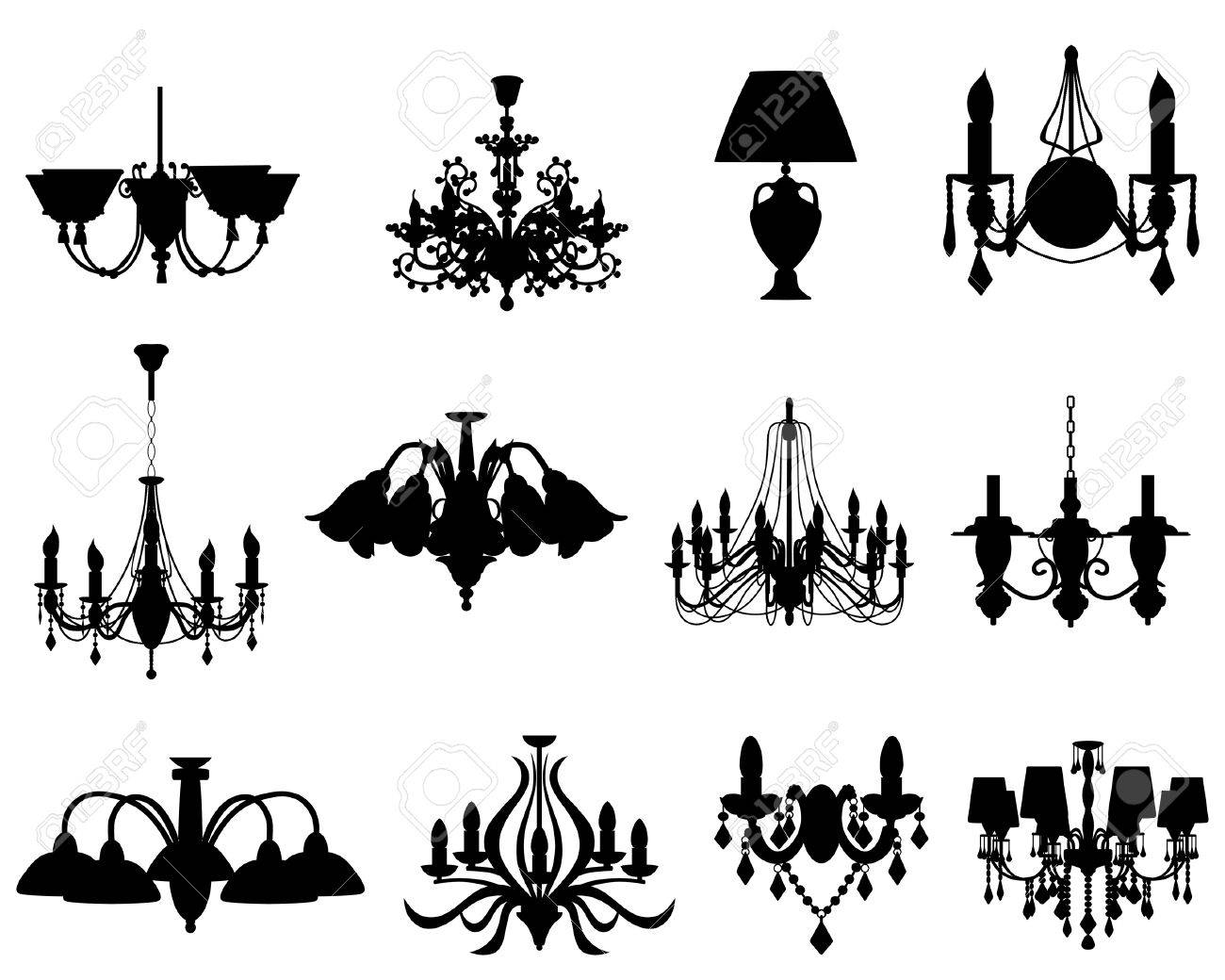 Set of different lamps silhouettes. - 6460541