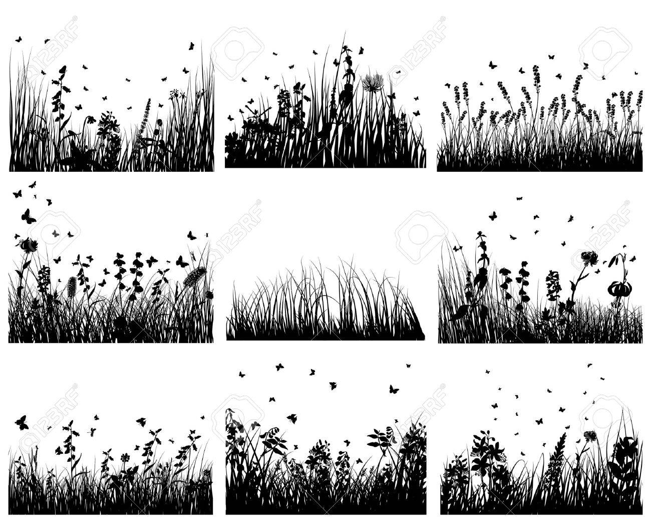 Vector grass silhouettes backgrounds set. All objects are separated. Stock Vector - 6509420