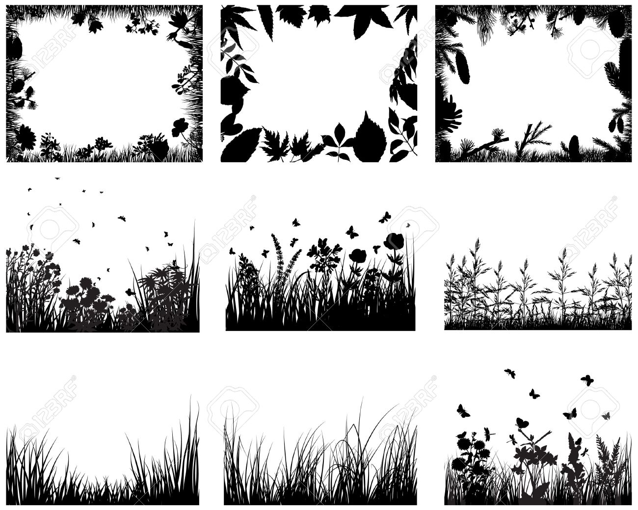 Vector grass silhouettes backgrounds set. All objects are separated. Stock Vector - 6522075