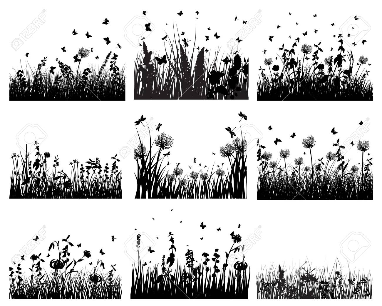 Vector grass silhouettes backgrounds set. All objects are separated. Stock Vector - 6522074